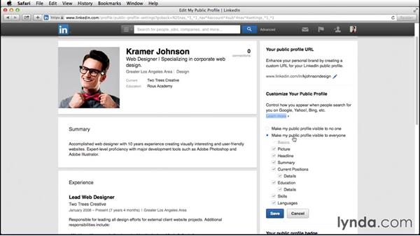 Configuring your public profile: Up and Running with LinkedIn