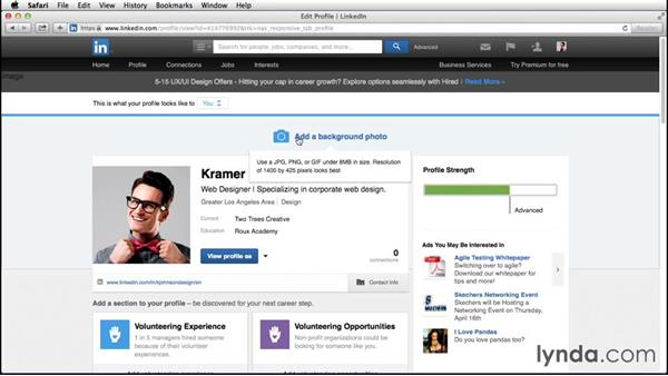 Adding a custom background image: Up and Running with LinkedIn
