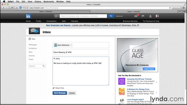 Exploring InMail and messages on LinkedIn: Up and Running with LinkedIn