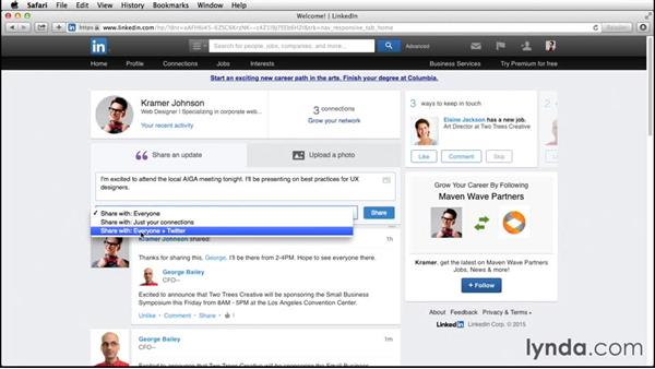 Creating status updates: Up and Running with LinkedIn