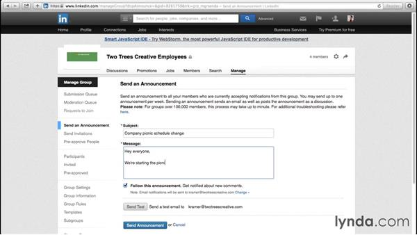 Seding out group announcements: Up and Running with LinkedIn