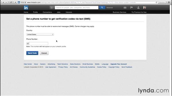 Using two-factor authentication: Up and Running with LinkedIn