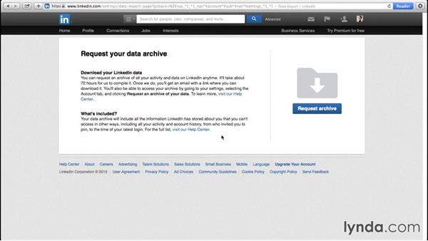 Requesting an archive of your data: Up and Running with LinkedIn