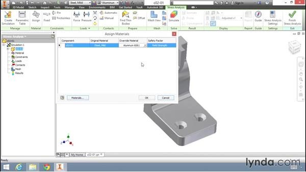 Assigning materials to the model: Fundamentals of Stress Analysis Tools in Inventor Professional