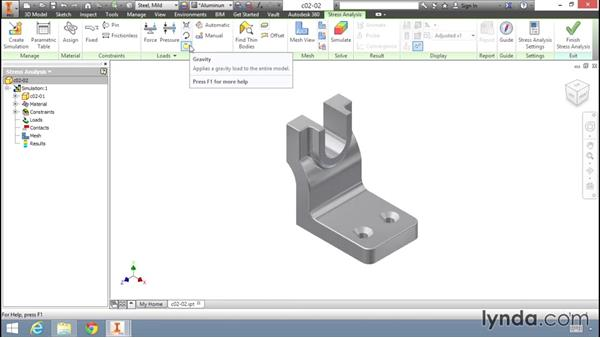 Setting a load and constraint: Fundamentals of Stress Analysis Tools in Inventor Professional