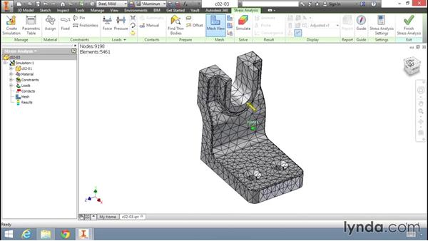 Generating a basic mesh and starting an analysis: Fundamentals of Stress Analysis Tools in Inventor Professional