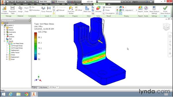 Reviewing analysis results: Fundamentals of Stress Analysis Tools in Inventor Professional