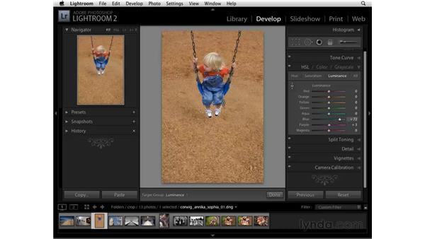 Using HSL to brighten based on color: Lightroom 2 Essential Training
