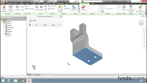 Working with different constraint types: Fundamentals of Stress Analysis Tools in Inventor Professional