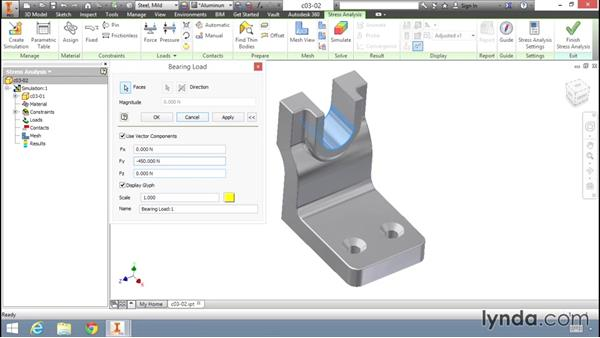 Exploring loading options: Fundamentals of Stress Analysis Tools in Inventor Professional