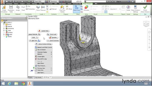 Basic mesh refinement: Fundamentals of Stress Analysis Tools in Inventor Professional