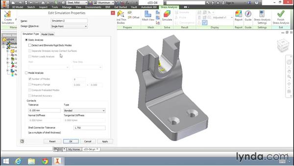Running a modal analysis: Fundamentals of Stress Analysis Tools in Inventor Professional