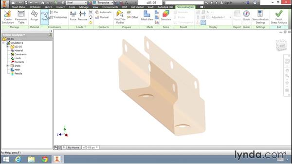 Simulation of a thin body part: Fundamentals of Stress Analysis Tools in Inventor Professional