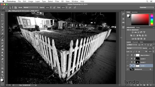 Solution: Making tonal adjustments to a black and white image: From Screen to Paper: Improving Your Inkjet Printing Skills