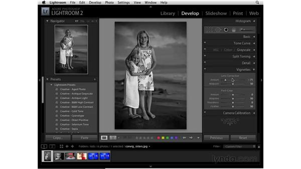Using presets to convert to black and white: Lightroom 2 Essential Training