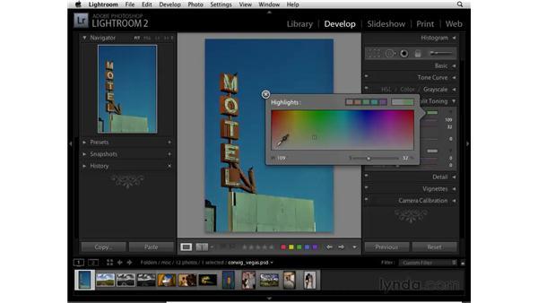 Split Toning a color image: Lightroom 2 Essential Training