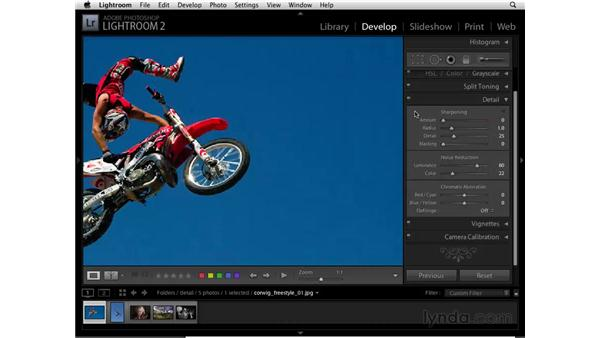 Reducing noise in a color photo: Lightroom 2 Essential Training