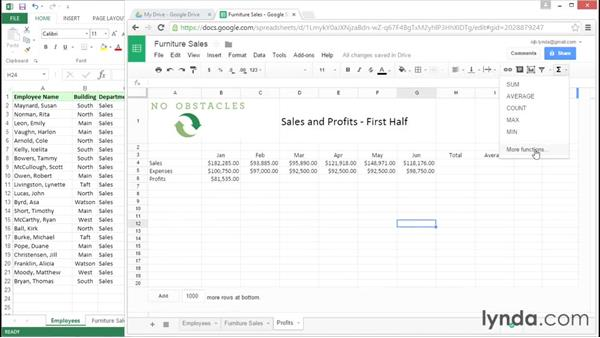 Working with formulas and functions: Migrating from Google Apps to Office 2013