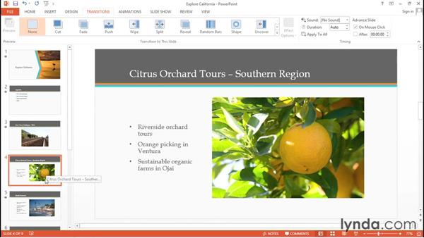 Adding slide transitions: Migrating from Google Apps to Office 2013