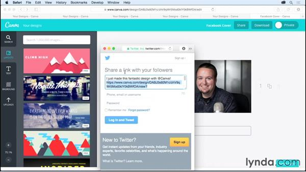 Sharing your projects via social media: Up and Running with Canva