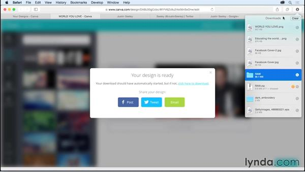 Solution: Uploading your artwork to the web: Up and Running with Canva