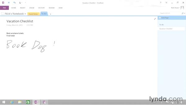Working with the OneNote desktop application: Up and Running with Surface 3 and Surface Pro 3