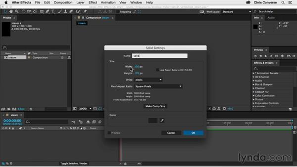 Setting up your project and applying particles: Creating an Animated Steam Sprite Sheet with After Effects