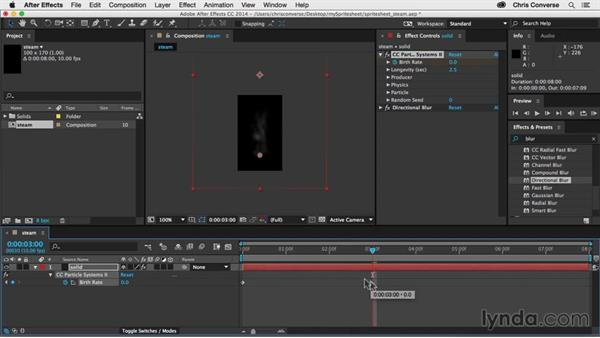 Setting keyframes for particle birth rate: Creating an Animated Steam Sprite Sheet with After Effects