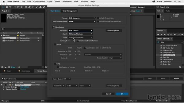 Exporting frames of the looping animation: Creating an Animated Steam Sprite Sheet with After Effects