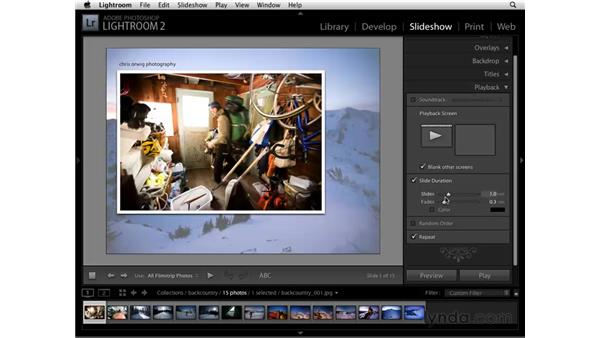 Customizing titles and playback: Lightroom 2 Essential Training