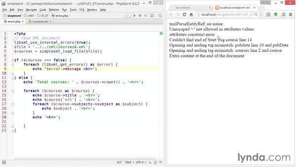 Handling XML errors: Up and Running with PHP SimpleXML