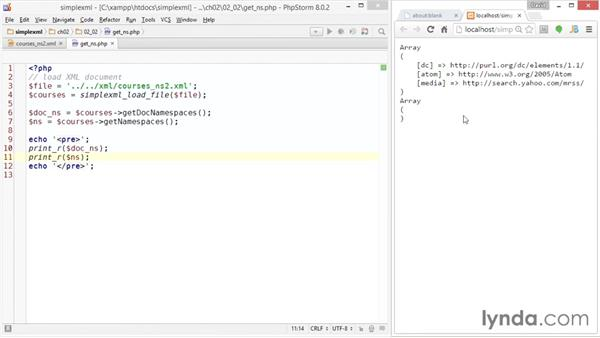 Getting namespaces: Up and Running with PHP SimpleXML