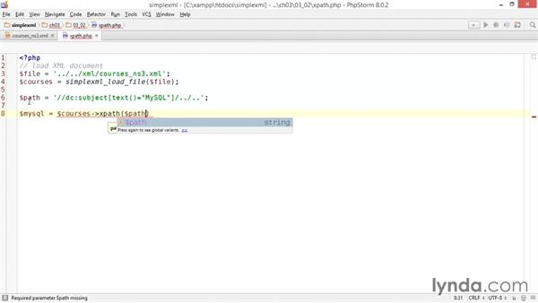 Using XPath to filter elements: Up and Running with PHP SimpleXML