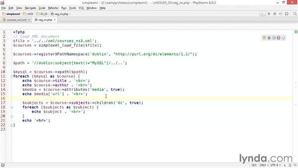 Creating a custom namespace prefix for XPath: Up and Running with PHP SimpleXML
