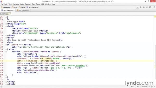 Displaying the thumbnail images: Up and Running with PHP SimpleXML