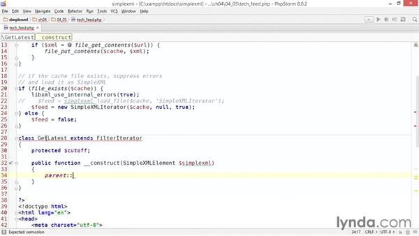 Filtering the feed: Up and Running with PHP SimpleXML