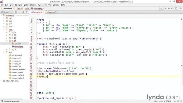 Formatting SimpleXML output: Up and Running with PHP SimpleXML