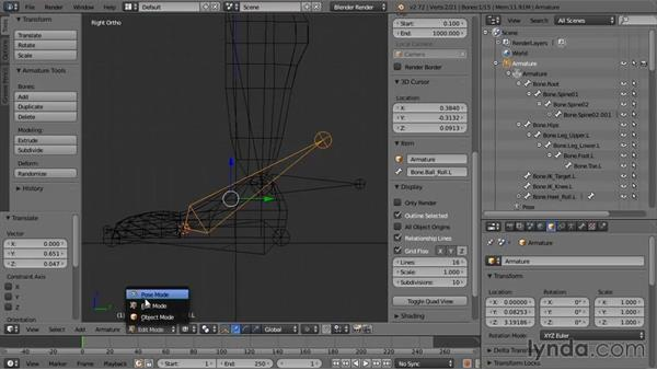 Creating the foot bones: Rigging a Humanoid Character with Blender