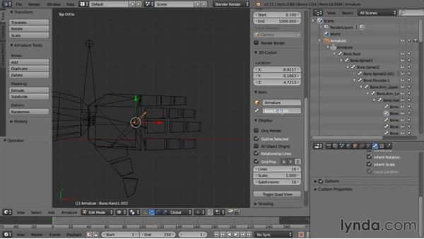 Creating the arm IK bones: Rigging a Humanoid Character with Blender