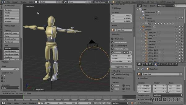 Creating controller shapes and assigning them to bones: Rigging a Humanoid Character with Blender