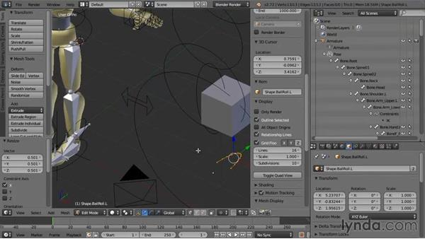 Creating custom controller shapes for the foot: Rigging a Humanoid Character with Blender