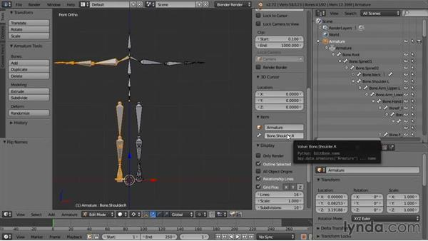 Duplicating the left arm and leg bones to the right side of the body: Rigging a Humanoid Character with Blender