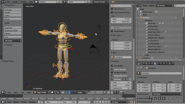 Initial weighting of the mesh to the bones: Rigging a Humanoid Character with Blender