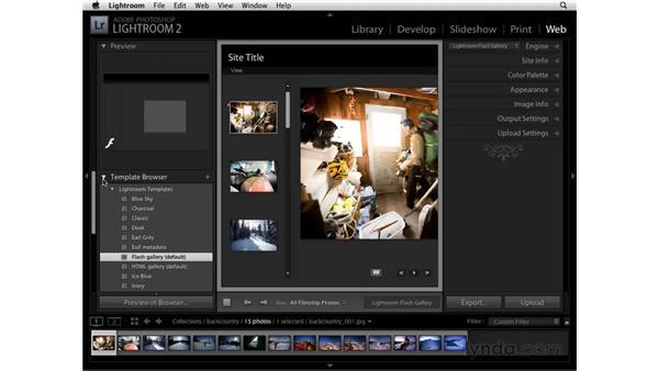Choosing a Web Gallery template: Lightroom 2 Essential Training