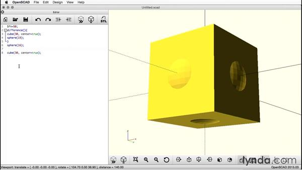 Creating a second cube: Creating a Captive Sphere with OpenSCAD