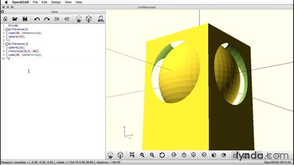 Subtracting the cube from the sphere: Creating a Captive Sphere with OpenSCAD