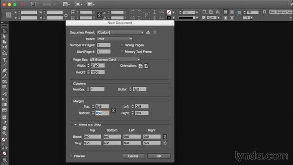 Setting up the business card document in InDesign: Designing a Business Card