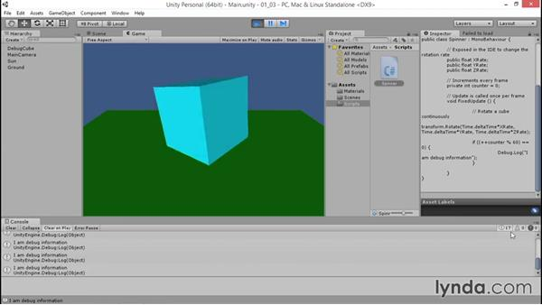 Discuss the Unity Console features: Debugging Scripts in Unity