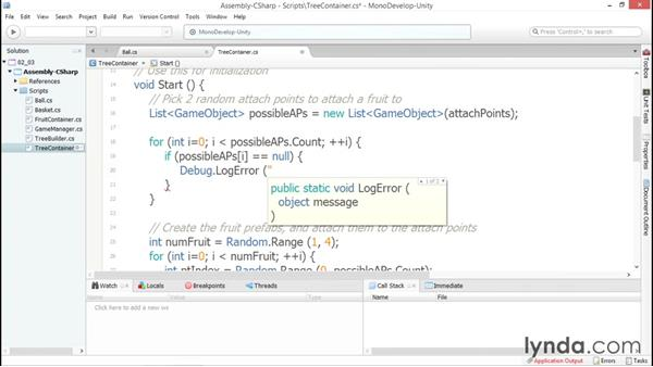 Handling exceptions in your application: Debugging Scripts in Unity