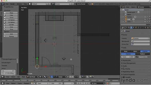 Roughing in the floor, walls, and ceiling: Creating an Interior Scene with Blender